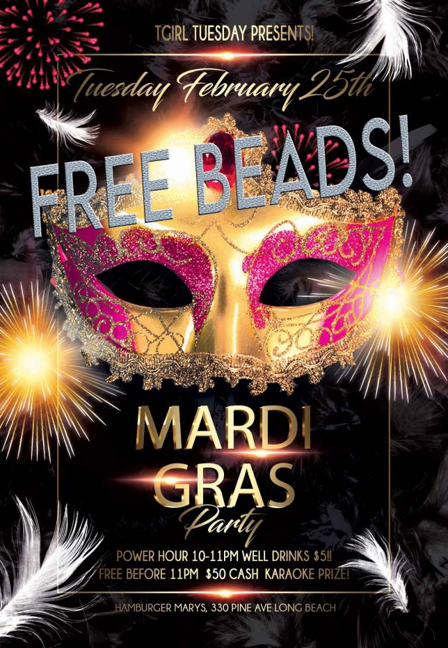 TUESDAY! THE BIG PARTY! MARDI GRAS!